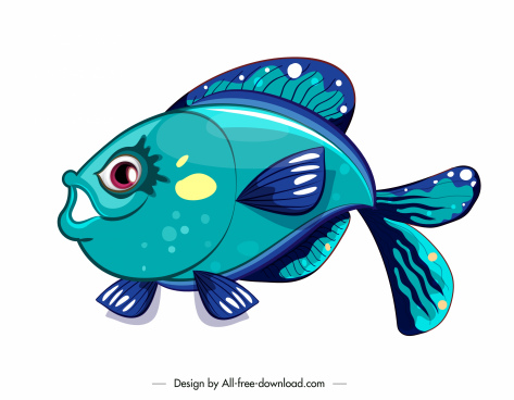 fish icon colorful decor cute cartoon sketch