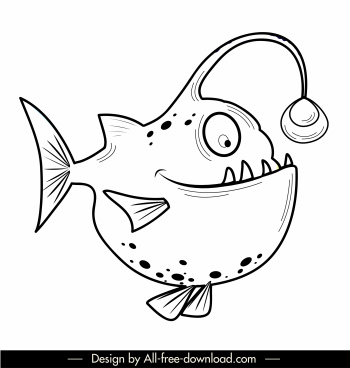 fish icon flat black white handdrawn sketch