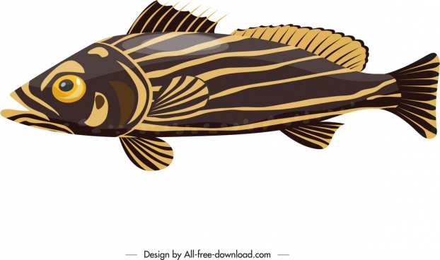 fish icon yellow brown flat design