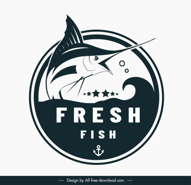 fish logo template black white swordfish sketch