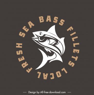 fish logo template flat dynamic handdrawn sketch