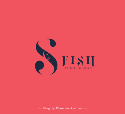 fish logo template simple flat texts decor