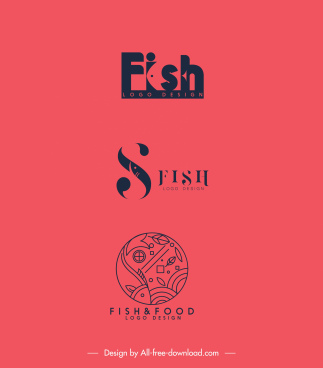 fish logo templates classical flat handdrawn sketch