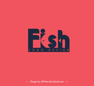 fish logotype flat dark design texts decor