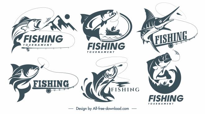 fish logotypes dynamic handdrawn classic sketch