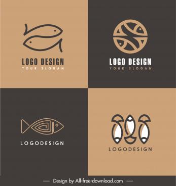 fish logotypes templates dark flat retro handdrawn sketch