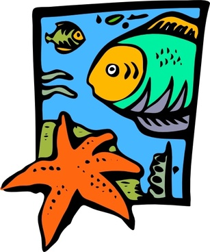 Fish Marine Life Starfish clip art