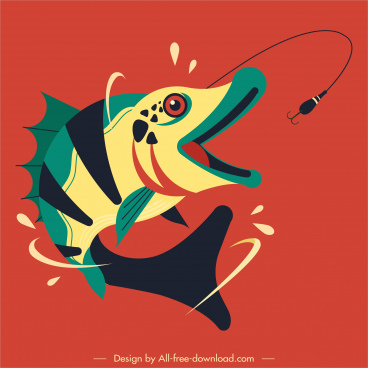 fish prey icon motion design colorful classic