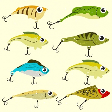 fish prey icons multicolored design sharp hooks decor