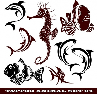marine creatures tattoo templates fish seahorse icons sketch