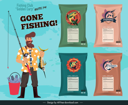 fish snack advertising banner fisher package sketch