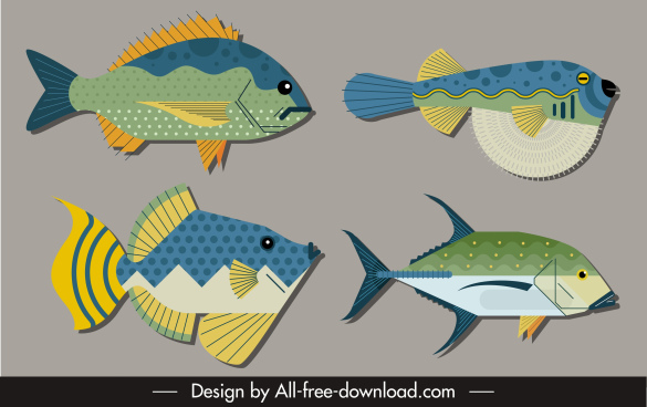 fish species icons colorful flat sketch