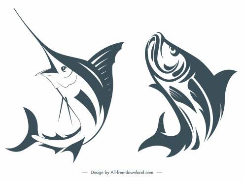 fish species icons dynamic handdrawn sketch