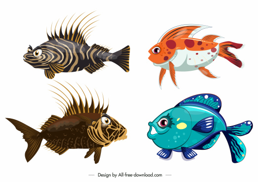 fish species icons shiny modern colorful design