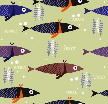 fishes background classical flat repeating design