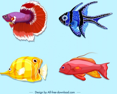 fishes background colorful icons decor