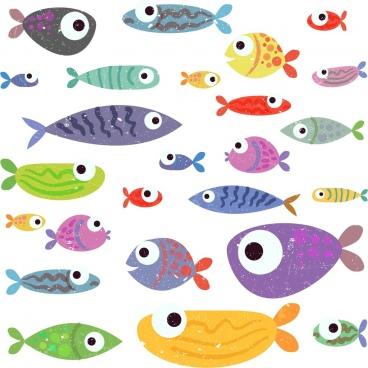 fishes background colorful retro design