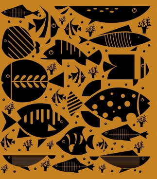fishes background flat black icons sketch