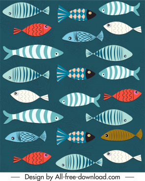 fishes pattern classical colored flat sketch