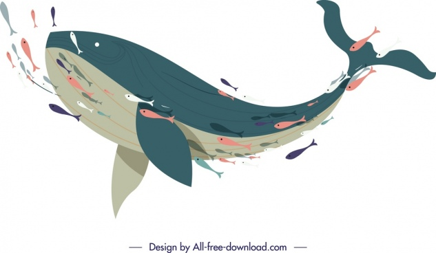 fishes school painting swimming species icon cartoon sketch