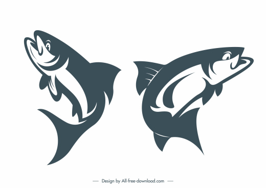 fishes species icons motion sketch classic handdrawn design