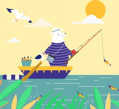 fishing background stylized bear ship icons cartoon design