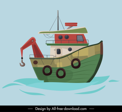fishing boat painting flat classical sketch