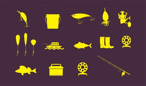 fishing icons sets vector illustration in flat design