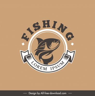 fishing logo template circle classic design ribbon decor
