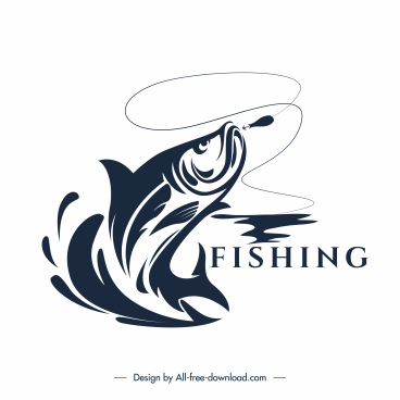 fishing logo template dynamic design handdrawn classic sketch