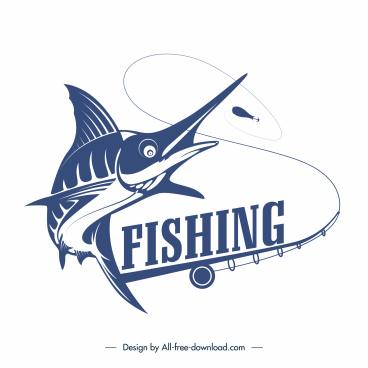 fishing logotype fish rod sketch classical design
