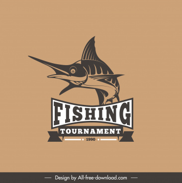 fishing logotype handdrawn fish sketch classic design