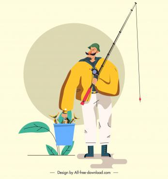 fishing painting flat cartoon sketch