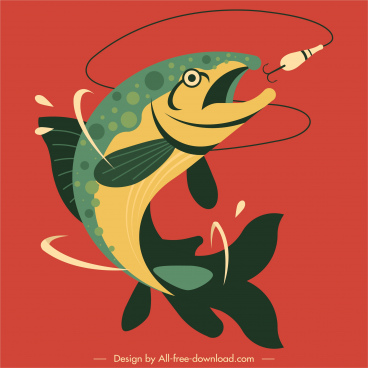 fishing painting hunted fish hook sketch dynamic design