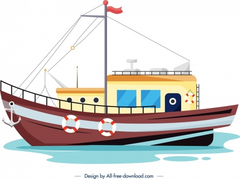 fishing ship painting colored cartoon sketch