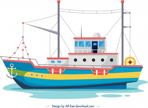 fishing ship painting colorful design