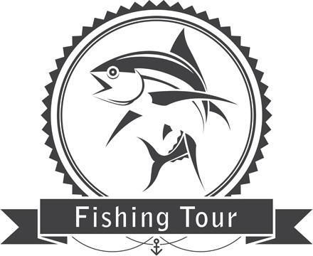 fishing tour label vintage vector
