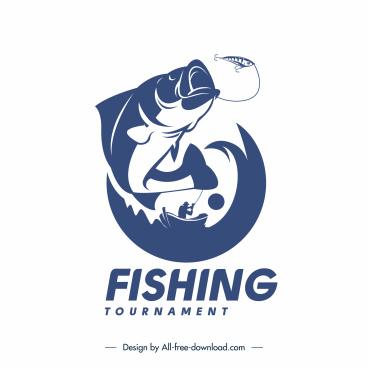 fishing tournament logo template dynamic fish boat silhouette