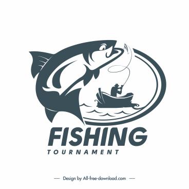 fishing tournament logotype fish boat sketch silhouette design