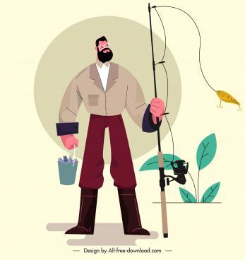 fishing work painting man rod sketch cartoon design