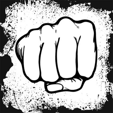 fist and ink border vector