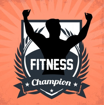 fitness champion medal template athlete silhouette icon decor