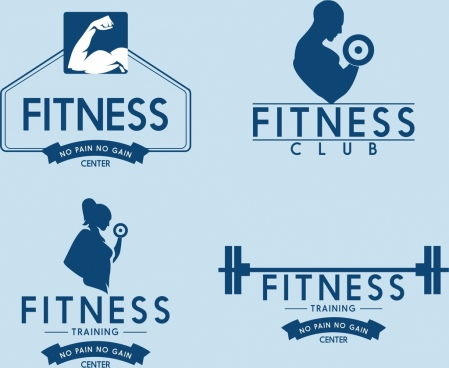 fitness club logotypes muscle weight icons silhouette design