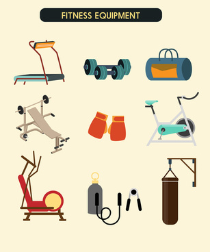 fitness equipment icons collection vector with color style