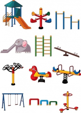 playground toys icons colorful modern sketch