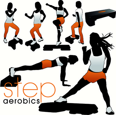 fitness exercises design elements set