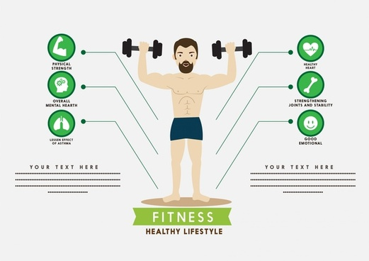 fitness infographic male playing gym and icons design