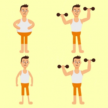 fitness man icons fat thin dumbbell cartoon design