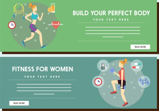 fitness promotion banner woman and health icons decoration