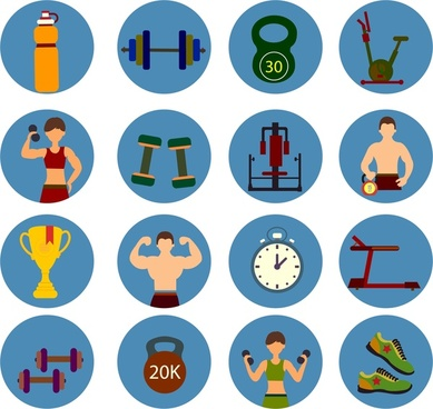 fitness symbols sets design in color flat style